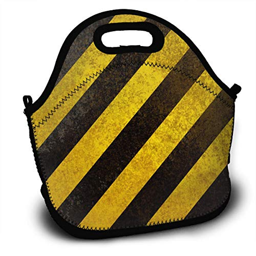 - Yisliferunaz Black Yellow Zebra Striped Print Lunch Bag Portable Bento Bags Food Boxes Carry Case Tote Adults Kids Outdoor Multifunction Handbag Pouch for Picnic Travel School Office Trip Work