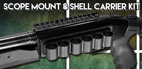 Mossberg 500/590 Shot Shell Carrier, Mossberg 500 12 Gauge Shotgun Sight Mount and 6 Shell Holder