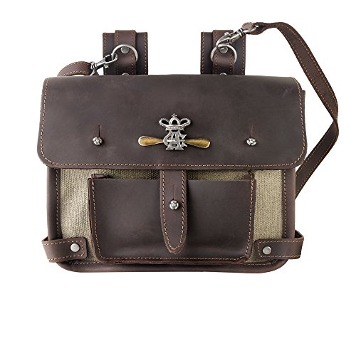 Steampunk Brown Canvas and Leather Wing-Commander's Attache Pouch by Alchemy Gothic by Alchemy Gothic