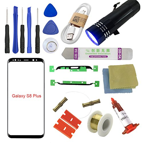 SUNMALL For Samsung Galaxy S8+ Screen Replacement, Front Outer lens Glass Screen Replacement Repair Kit For Samsung Galaxy S8+ G955 Series (Galaxy S8 Plus 6.2- Black)
