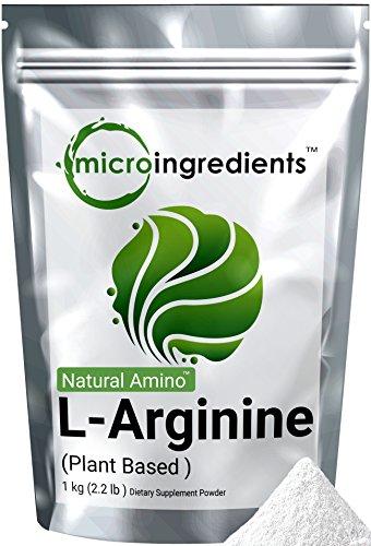 Micro Ingredients Plant-Based Pure L-Arginine Powder, 1 Kg (2.2 lb)