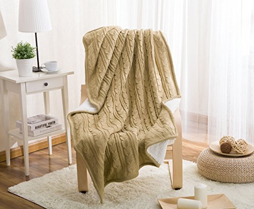 [Crochet Cable Blanket, LakeMono Eco-friendly Super Warm Knitted Throw Cover bed quilt Rug for Living Room/Car/Bedroom /Sofa/Bed /Couch /Office Adult and Kids Resting Relaxing (47×70 Inches, Apricot)] (The Big Comfy Couch Costume)