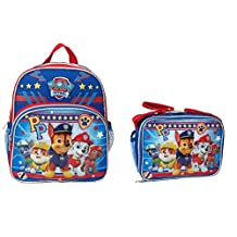 "Nickelodeon Paw Patrol PP 10"" Small Mini Toddler Blue School Backpack w/Lunch Bag Set"