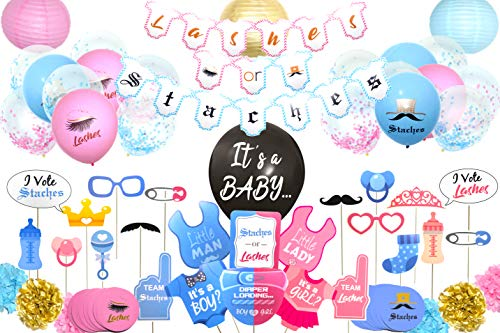 Bossy Baby Gender Reveal Party Supplies (110 Pieces) For Girl Or Boy with Lashes or Staches Banner, Photo Props, 36 Inch Reveal Balloon - Premium Baby Shower Decorations Set - -