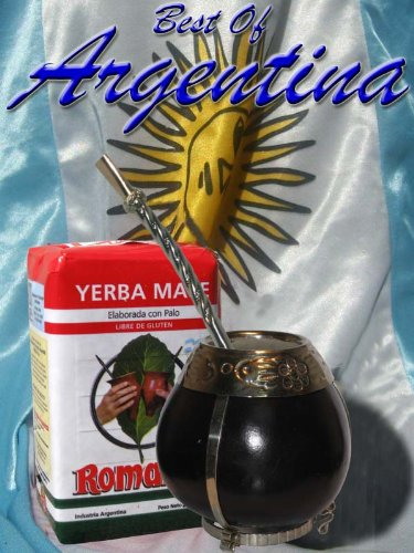 ARGENTINA KIT: Gourd with Nickel and Alpaca (Silver 800) details + Yerba Mate Herb Tea + Bronze and Nickel Straw ()