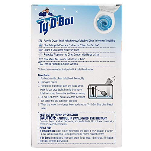 Ty-D-Bol Blue Plus Bleach Tablets Value 5 Pack, Cleans and Deodorizer Toilets for a Fresh Smelling Bathroom (Pack of 10) by Ty-D-Bol (Image #1)