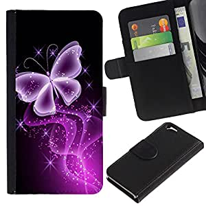 EJOY---La carpeta del tirón la caja de cuero de alta calidad de la PU Caso protector / Apple Iphone 6 / --Mariposa ing Negro púrpura de neón