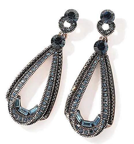 ANDANTINO Stainless Steel Earring- Women's Geometric Long Ear Hook-Tassel Earrings-Bar/Square/Triangle Asymmetrical Dangle Earring Gold Plated Ear Stud- Gift for Girls (Blue Teardrop) - Inlay Sterling Silver Triangle Earrings