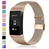 Amzpas Metal Replacement Bands Compatible with Fitbit Charge 3 Bands, Adjustable Stainless Metal Wristband Bracelet Straps for Fitbit Charge 3 Fitness Activity Tracker Women Men Small Large Size