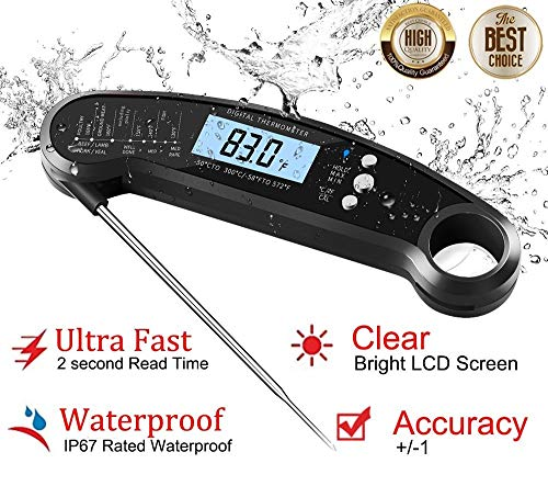 (Digital Kitchen Thermometer for Bread, Candy, Yogurt, Liquids, Baking, BBQ Meat - Instant Read, Waterproof Magnetic Body and Wireless Large Probe with a Bottle Opener and Backlit Dial)