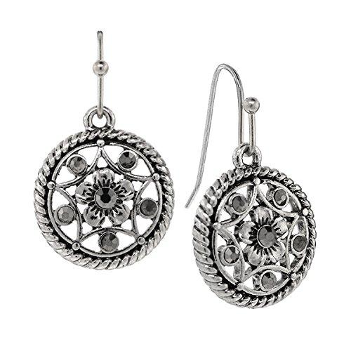 Silver Tone Hematite Round Drop Earrings