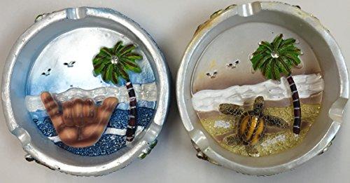 Palm Tree Porcelain (Ashtray Porcelain Hang Loose Turtle, Palm Tree, & Ocean Design set of 2 pieces))