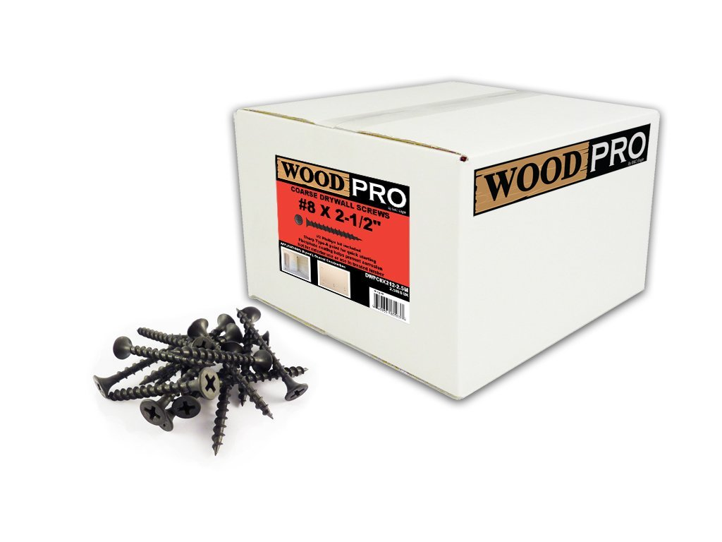 WoodPro Fasteners DWPC8X212-2.5M No 2 Phillips 2500-Count 8 by 2-1/2-Inch Coarse Drywall Screws
