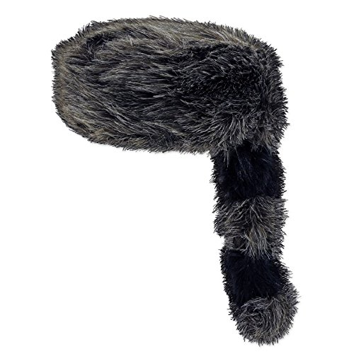 Club Pack of 6 Dark Gray Plush Coonskin Party Hat with Striped (Tail Striped Hat)
