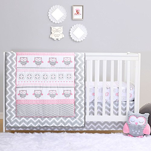 Grey and Pink Chevron Owl 4 Piece Baby Crib Bedding Set by Belle by Belle