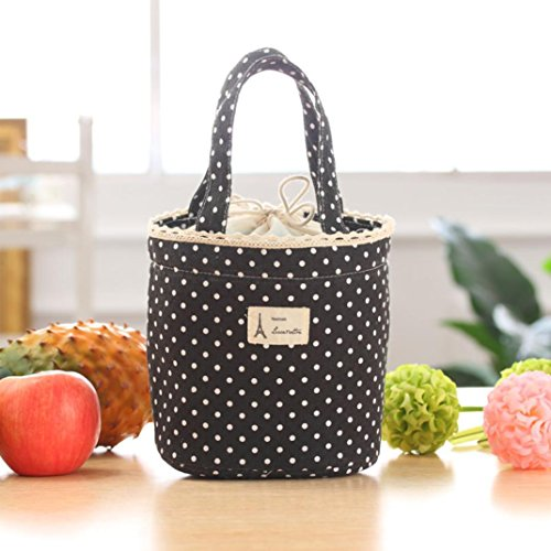 Paymenow Thermal Insulated Lunch Box Cooler Bag Tote Bento Pouch Lunch Container Handbag(Black)