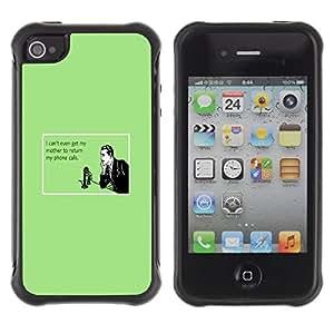 Suave TPU GEL Carcasa Funda Silicona Blando Estuche Caso de protección (para) Apple Iphone 4 / 4S / CECELL Phone case / / Mother Technology Relationships Quote /