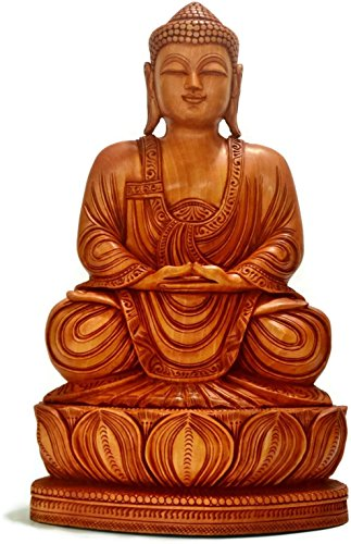CraftVatika 15 inch Wooden Meditating Buddha Statue- Large Tibet Tibetan Chinese Hand Carved Samadhi Buddhist Sculpture CraftVatika by CraftVatika