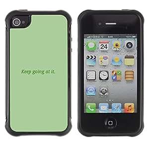 "Pulsar iFace Series Tpu silicona Carcasa Funda Case para Apple iPhone 4 / iPhone 4S , Mantenga va en ello la verde menta Mensaje"""