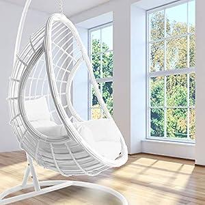 Kideo Ensemble complet : fauteuil suspendu blanc avec armature et coussins, fauteuil basculant, fauteuil en polyrotin…