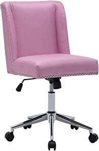 Upholstered Linen Fabric Home Office Chair Nailhead Trim Task Chairs Height Adjustable Swivel Desk Chair (1, Pink)