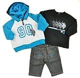US Polo Assn Newborn Boys Teal Hoodie 3Pc Denim Pant Set