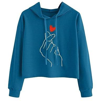 Tefamore Sudadera Cortas con Capucha para Mujer, Sudaderas para Mujer Hoodie Blusa Camiseta de Manga Larga Tops de Deportivo Moda Basico Sencillo Primavera ...