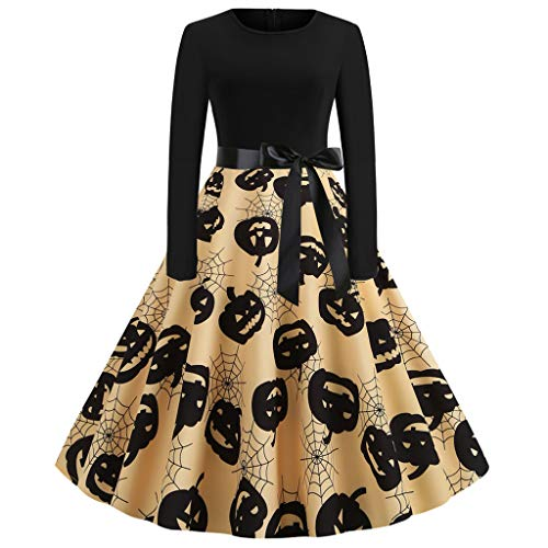 FEDULK Womens Halloween Costume Dress Pumpkin Print Long Sleeve Round Neck A Line Flared Prom Party Dress(Yellow, Small)