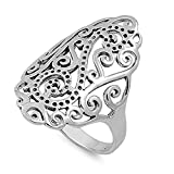 CloseoutWarehouse Sterling Silver Grand Filigree Ring Size 10