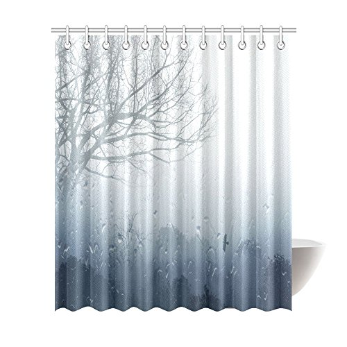 InterestPrint Rainy Scene Mystic Foggy Forest Decor, Art Romantic Window Water Drops Scene Melancholia Therapy Lonely Tree Unique Bathroom Shower Curtain 72 X 84 Inches, Denim Gray