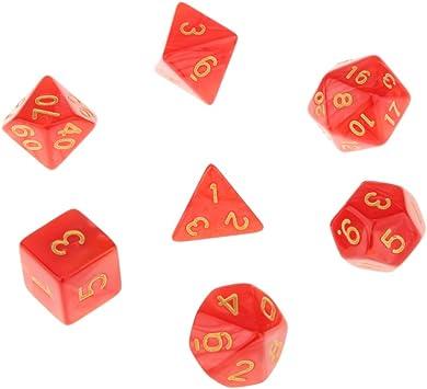 7pcs Juegos de Mesa Dados Multi Caras TRPG D4-D20 Patrón Perla con Puntitos Dorados - Rojo: Amazon.es: Juguetes y juegos