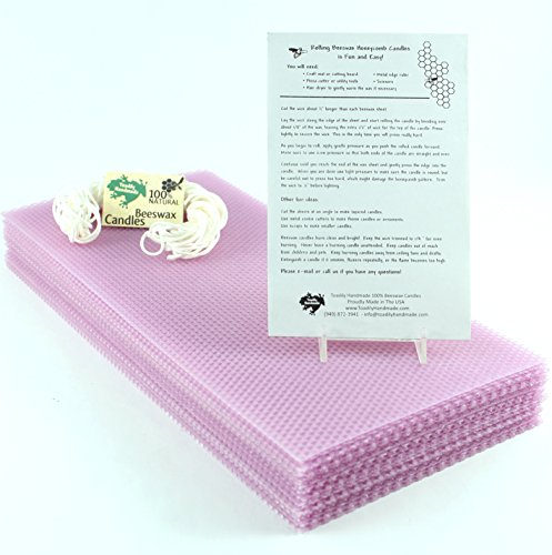 Make Your Own Beeswax Candle Kit   20 Full Size 100  Beeswax Sheets In Lilac  Approx  16 1 4  X 8     Wick And Instructions Included