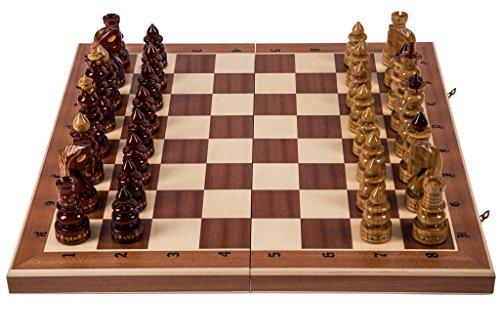 Échecs en bois BYZANTIUM - Acajou - 60 x 60 cm - Pièces d'échecs sculptées