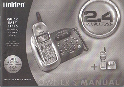Uniden Model DCT6465 DCT6465-2 Series, 2.4 Ghz Digital Cordless Telephone, Owner's Manual-Operating Guide, No. UPZZ01318BZ