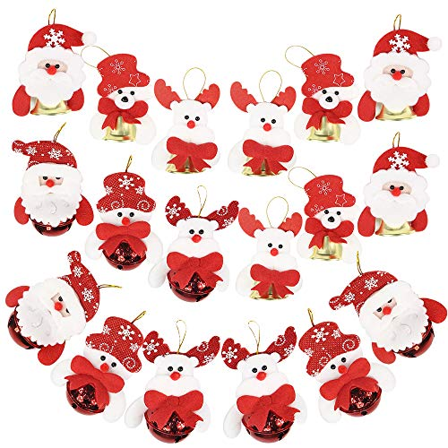 (Canflo Christmas Tree Bells 18 Pcs Hanging Christmas Decoration Ornaments in Two Different Type Bells Each Type in 9 Pcs Snowman/Oldman/Bear/elk for Christmas Tree)