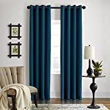 Veratex Gotham Collection Contemporary Style 100% Linen Bedroom Grommet Fastener Style Curtain, 84″ Long, Dark Teal For Sale