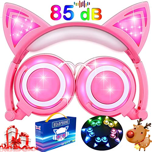 Kids Cat Ear Headphones for Girls Boys Toddlers with Microphone LED Light 85dB Volume Limit USB Rechargeable Wired Foldable Over/On Earphones Game Headsets for Phone Tablets PC Travel Birthday Gifts