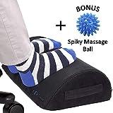 COZYDOC Foot Rest Cushion Under Desk: Ergonomic Footrest for Home, Office, Travel【+Bonus Spiky Massage Ball】Premium Comfort Foam 》Angled Ergo Design 》Non-Slip Base 》for Feet, Knee, Back Pain Relief