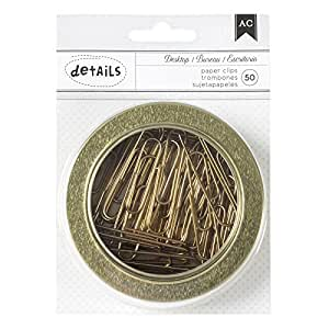 American Crafts Office Tins 3.5 Inch Tin Paper Clips Gold 50 Piece