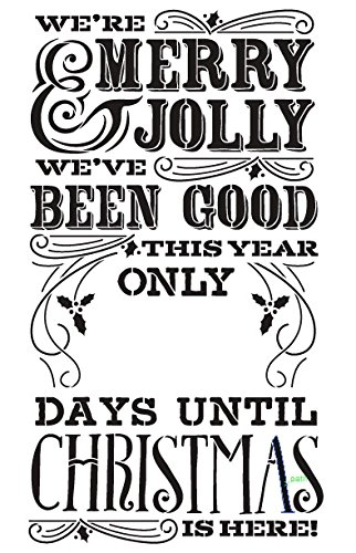 Merry Christmas Countdown Stencil By Studior12 Elegant Chalk Word Art Reusable Mylar Template Painting Chalk Mixed Media Use For Wall Art
