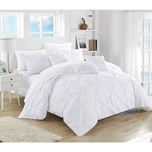 Bag Comforter Ensemble - Chic Home 10 Piece Hannah Pinch Pleated, ruffled and pleated complete Queen Bed In a Bag Comforter Set White With sheet set