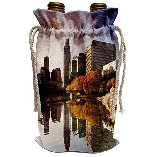 3dRose Danita Delimont - Walter Bibikow - Nebraska - USA, Nebraska, Omaha, Gene Leahy Mall, skyline, late afternoon - Wine Bag ()
