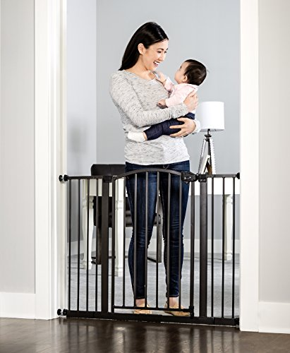 Regalo Easy Step Arched Décor Walk Thru Baby Gate, Includes 6-Inch Extension Kit, 4 Pack Pressure Mount Kit and 4 Pack Wall Mount Kit, Bronze For Sale