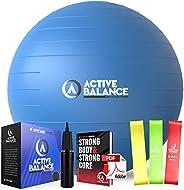 Active Balance Exercise Ball - Gym Grade Fitness Ball for Stability, Balance & Yoga - Comes with Bonus Res