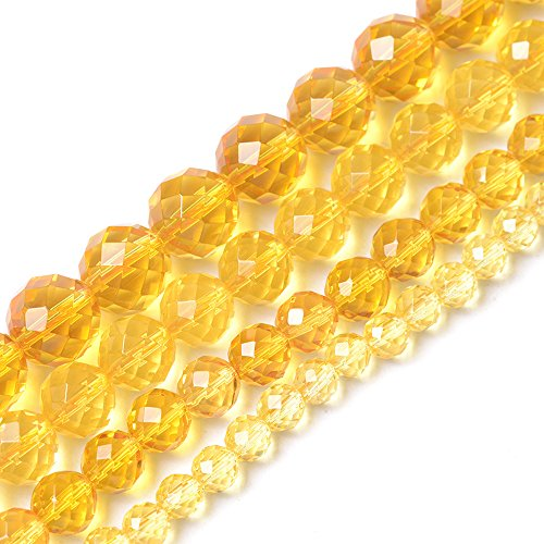 iSTONE Round Faceted Genuine Citrine Beads Gemstone Beads For Jewelry Making Loose Beads In Bulk Wholesale Beads Handmade DIY One Strand 16'' (Faceted Citrine Bead)
