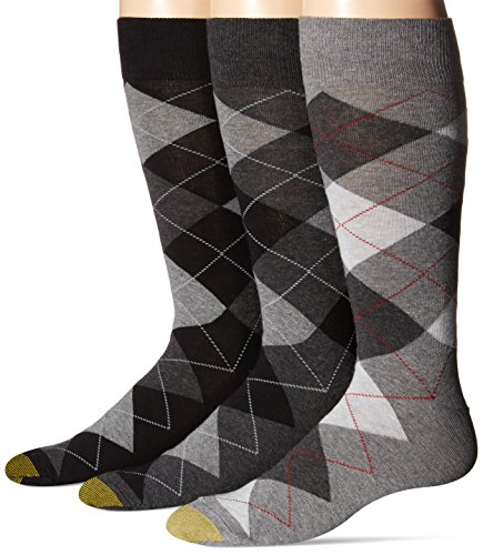Gold Toe Men's Carlyle Crew Socks, 3 Pairs, Black Argyle Mix, Shoe Size 12-16 (Calf Socks Patterned)