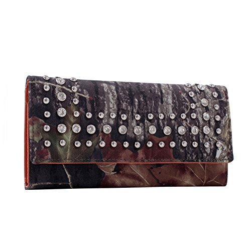 Studded Checkbook Wallet - Mossy Oak Rhinestone Studded Camouflage Checkbook Wallet Purse