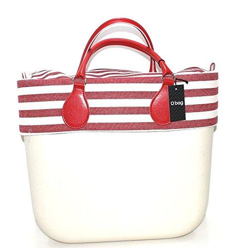 grande e bag manico rosso k bordo o Borsa sacca new collection con righe bianco e corto qRwYYE