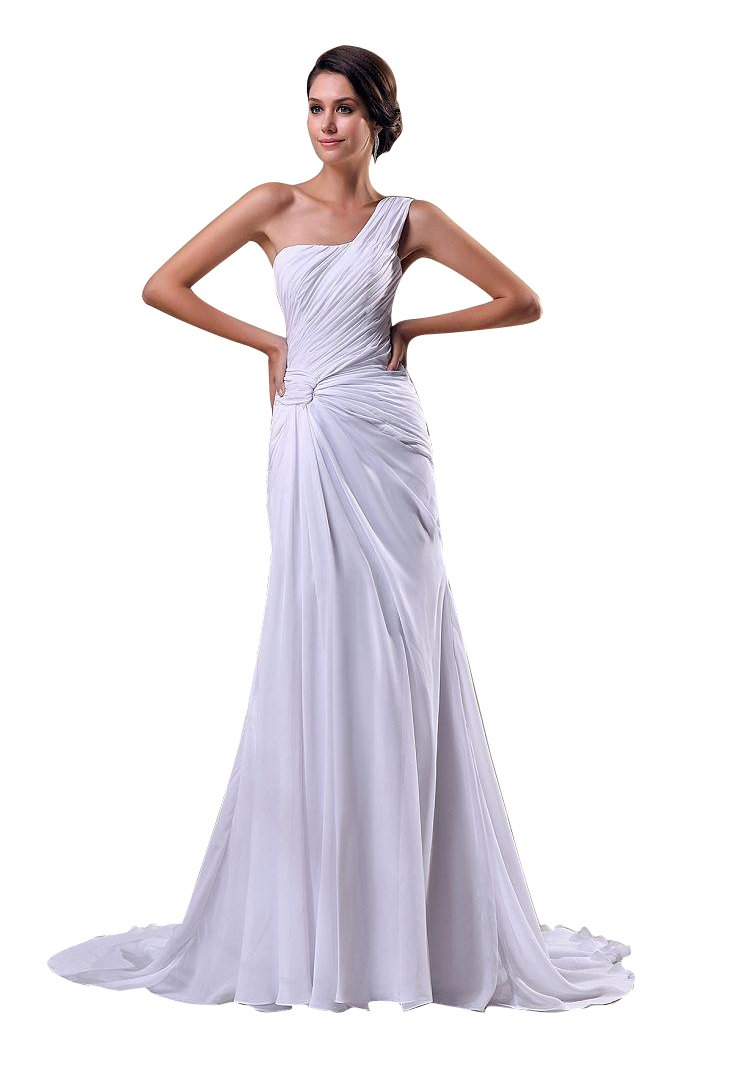 Beauty-Emily Maxi A-Line One-Shoulder Sleeveless Backless Zipper Christmas Gifts Night Evening Dresses Color White,Size US20W
