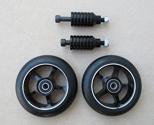 Dis 100 mm 5-spokeブラックonブラックスクーターWheels andブラックペグセット(ペア – 2 Wheels and 2ペグ)
